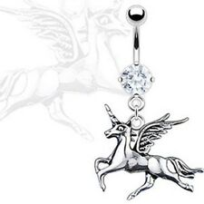 UNICORN BELLY RING CLEAR CZ DANGLE NAVEL JEWELRY B301 BUTTON PIERCING