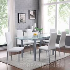 Extension Glass Dining Set with 6 White Faux Leather Metal Chairs Designer New