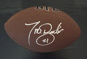 Tiki Barber Autographed NFL Football New York Giants Virginia/ JSA