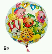 "Lot of (3) 18"" Shopkins Balloons Birthday Party Decorations"