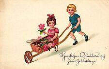 Geburtstag, Kinder mit Schubkarre, Rosen, 1932
