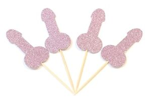 12 x Pink Willy Cupcake Toppers Hen do / bachelor / bachelorette / Stag/ Penis