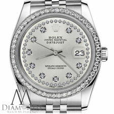 Ladies Rolex 31mm Datejust Silver Color String Diamond Accent Dial Watch