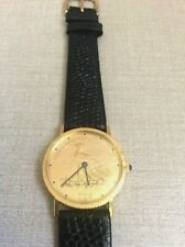 Swiss 17 Jewel Watch USA Gold Eagle Coin Dial Winding Movement Black Leather New