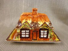 Vintage Butter Dish Cheese  Plate Cloche Dome Hand Painted Pottery Cottage Ware