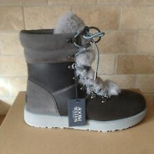 UGG VIKI METAL GREY WATERPROOF LEATHER SHEEPSKIN SHORT BOOTS SHOES SIZE 6 WOMENS
