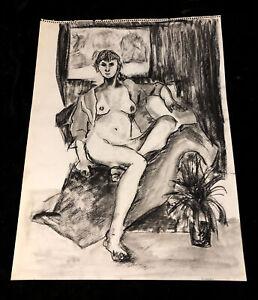 Vintage Original Nude Female Figure Study Charcoal Gesture Drawing Signed