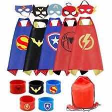 RioRand Kids Dress Up 5PCS Superhero Capes Set and Slap Bracelets for Boys