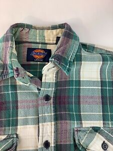 Dickies Heavy Plaid Cotton Flannel Long Sleeve Button Shirt Mens Size L