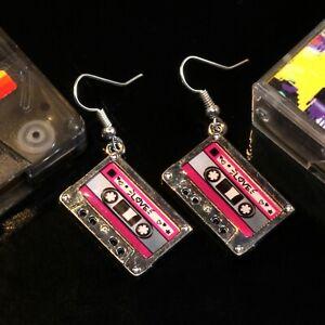 Bluebubble HEY DJ Funky Tape Earrings 80s 90s Disco Pop Retro Cool Fun Festival
