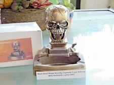 Novelty Skull Shape Cigarette Cigar Ashtray With Refillable Lighter USA Stocked