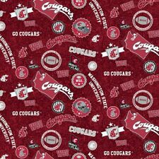 Washington State Cougars WSU Cotton Fabric with Home State Design-By the Yard