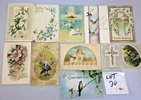 Lot of 10 Vintage 1900s Easter Greetings Embossed Flowers Holiday Post Cards #20