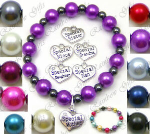 PERSONALISED GLASS BEAD STRETCH BRACELET SELECT DESIGN & COLOUR HEMATITE BEADS