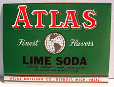 Atlas Bottling Lime Soda Old Label Detroit Michigan