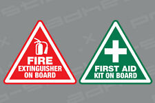 First Aid / Fire Extinguisher On Board Stickers Vinyl Decals