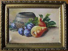 """Superbe nature morte 1930 """"fruits prés du pot en grés '"""
