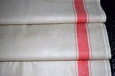 Altes Mangeltuch/Rolltuch - längs rote Streifen - Leinen-neuwertig (234-17)