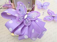 "20 Glitter Wire 2"" Butterfly/Floral Arrangement Decoration/Wedding Corsage L8-2"""