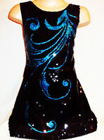 GIRLS 60s SPARKLY BLACK SEQUIN BLUE BURLESQUE FEATHER PATTERN DANCE PARTY DRESS