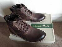 Clarks Mens ** Smart Mahale Hi Dark Brown Oiled Nubuck ** UK size 6/EU39.5 NEW