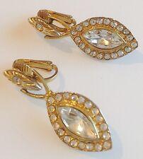 boucle d'oreille clips vintage couleur or cristaux diamant pampille 273
