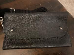 Waist Fanny Pack Belt Bag Pouch Black Pebble Leather