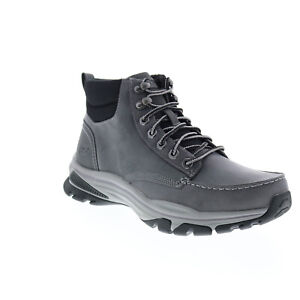 Skechers Ralcon Top Point 204207 Mens Gray Leather Lace Up Ankle Boots