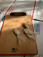 Vintage Old Weber Weedless Trycolor Bass Flys On Early Rare Display Card