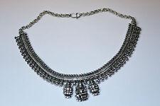 New Silver Hand Carved Indian God Lord Goddess Lakshmi Design Stunning Necklace