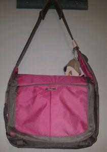 TECH Messenger Bag  Laptop Case  IPack  IPod Connect Pink/Gray Business Bag