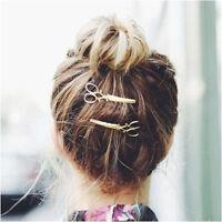 New 2Pcs Retro Gold/Silver Scissors Shape Hair Clip Hairpin Women Hair Accessory