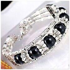 Tibetan silver black bracelet Breast Cancer charity fundraiser💕