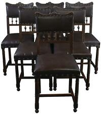 DINING CHAIRS ART NOUVEAU SET 6 ANTIQUE FRENCH  1900 WALNUT VINYL UP