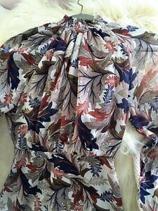 Fall Leaves Blend Grey Rust Blue Cream Olive Maxi  Dress - Small