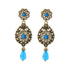 Boucles d`Oreilles Clous Doré Gros Floral Chandelier Bleu Retro Mariage XX17