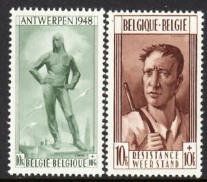 Belgium Scott #B 460-61 VF MNH 1948 The Unloader/WWII Underground Fighter