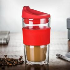 Outdoor Double Glass Insulation Silicone Lid Non Slip Cover Travel Coffee Mugs