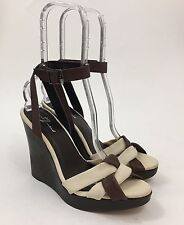 SEVEN 7 FOR ALL MANKIND Bribe Beige Twill Brown Leather Wedge Strappy Sandal 8.5
