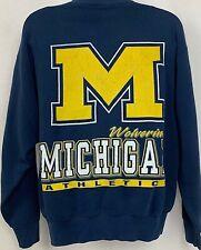Vtg 90s Michigan Wolverines Sweatshirt Blue Football NCAA Salem Sportswear XL