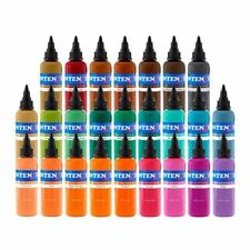 Intenze Authentic Tattoo Ink 25 Color Set with Free Skin Companion Greywash set