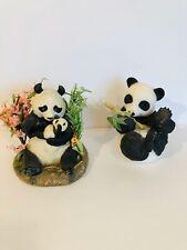 Vintage Panda Lot Hi There Porcelain Panda Bear Figurine & A Mothers Love Cute!