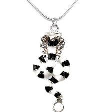 Cobra Damen Halskette Kette Collier Strass Schmuck Anhänger silberfarben 45 cm