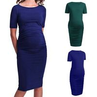 Women Mom Maternity Pregnancy Casual Short Sleeve Ruched Solid Dress Clothes Top