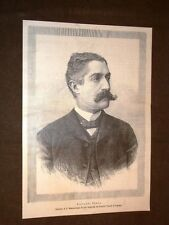 Rarissimo ritratto di Giovanni Carmelo Verga di Catania nel 1889 Scrittore poeta
