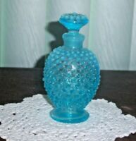 FENTON GLASS BLUE OPALESCENT HOBNAIL PERFUME BOTTLE - RARE c. 1940's