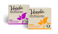 Veeda Natural Cotton Tampons, Super, Super Plus, Compact Applicator, 1 Box Each