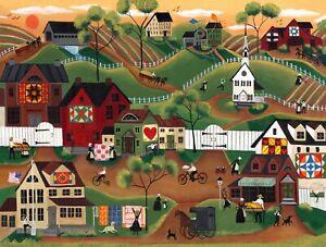 Amish FoLk ArT OrIgInAl PrInT Quilts Horse Dogs Church Barns Kites Bicycle Sun