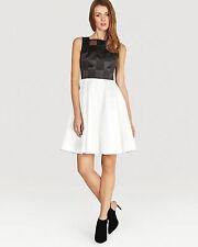 New KAREN MILLEN Graphic Pattern Dress Full Skirted Black White Bnwt UK sizes