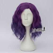 Heat Resistant Lolita Purple 35CM Long Women Curly Anime Cosplay Full Hair Wig
